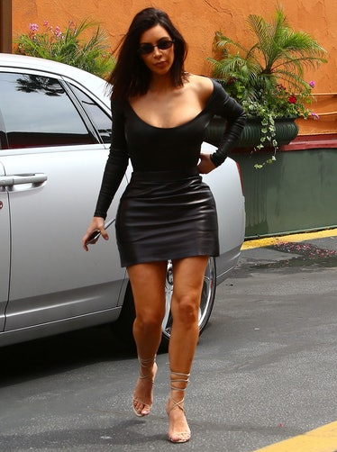 Kim Kardashian arrives at Chin Chins restaurant in Studio City
