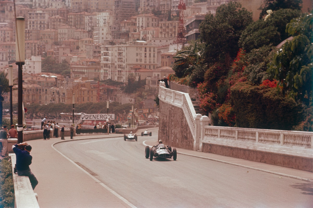 Racing cars on the road track at the Monaco Grand Prix, Monte Carlo.