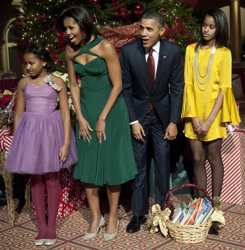 US President Barack Obama (2R), First La
