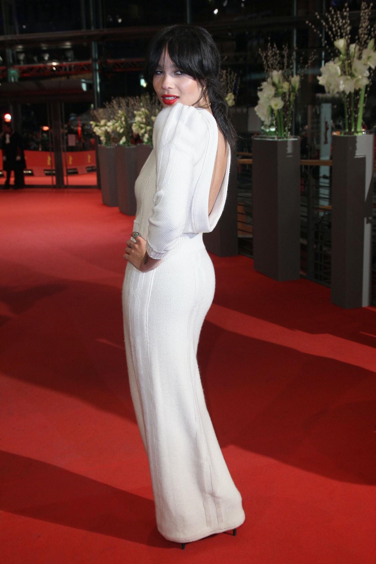 Zoe Kravitz in white gown.