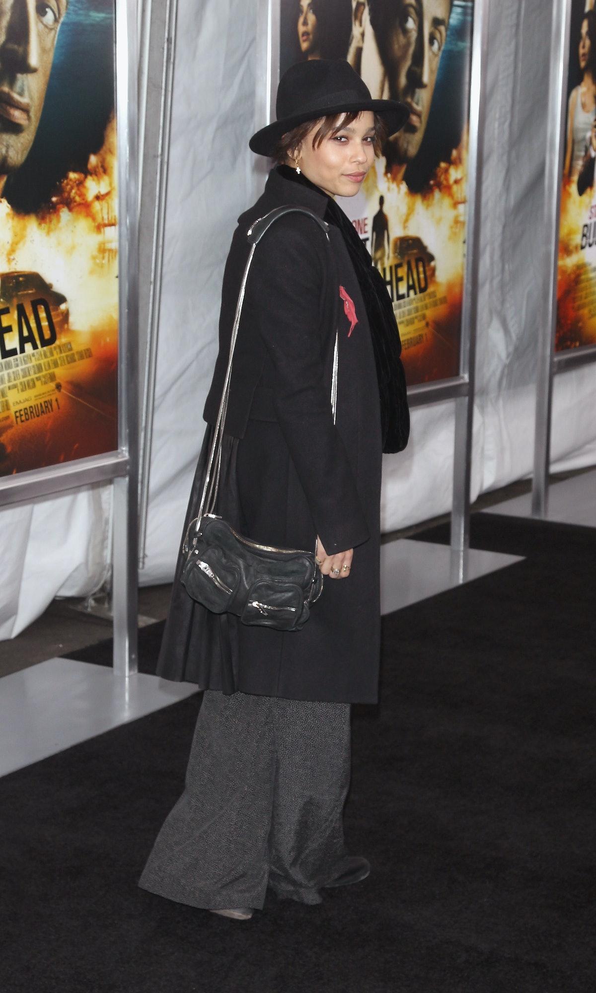Zoe Kravitz in hat.