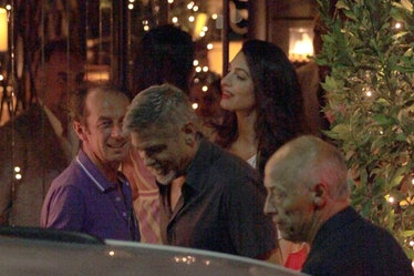 George and Amal Clooney spotted out with friends at Gatto Nero Restaurant in Milan