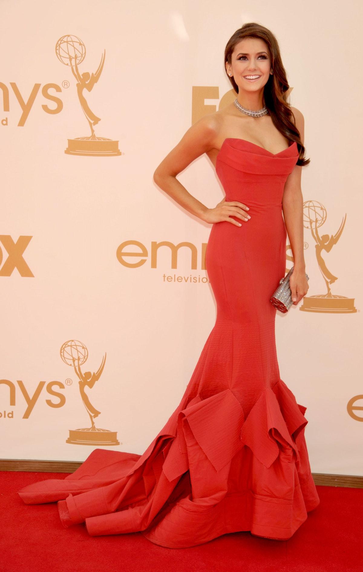 Nina Dobrev red dress emmys