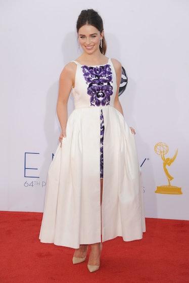 Emilia Clarke white and purple dress Emmys