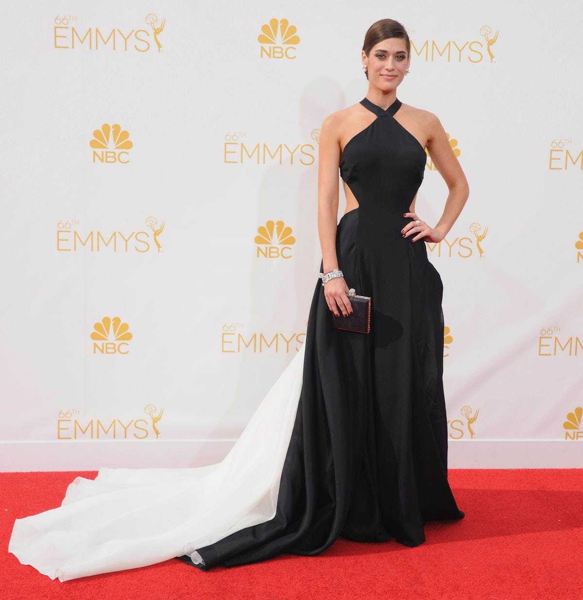 Lizzy Caplan black dress Emmys