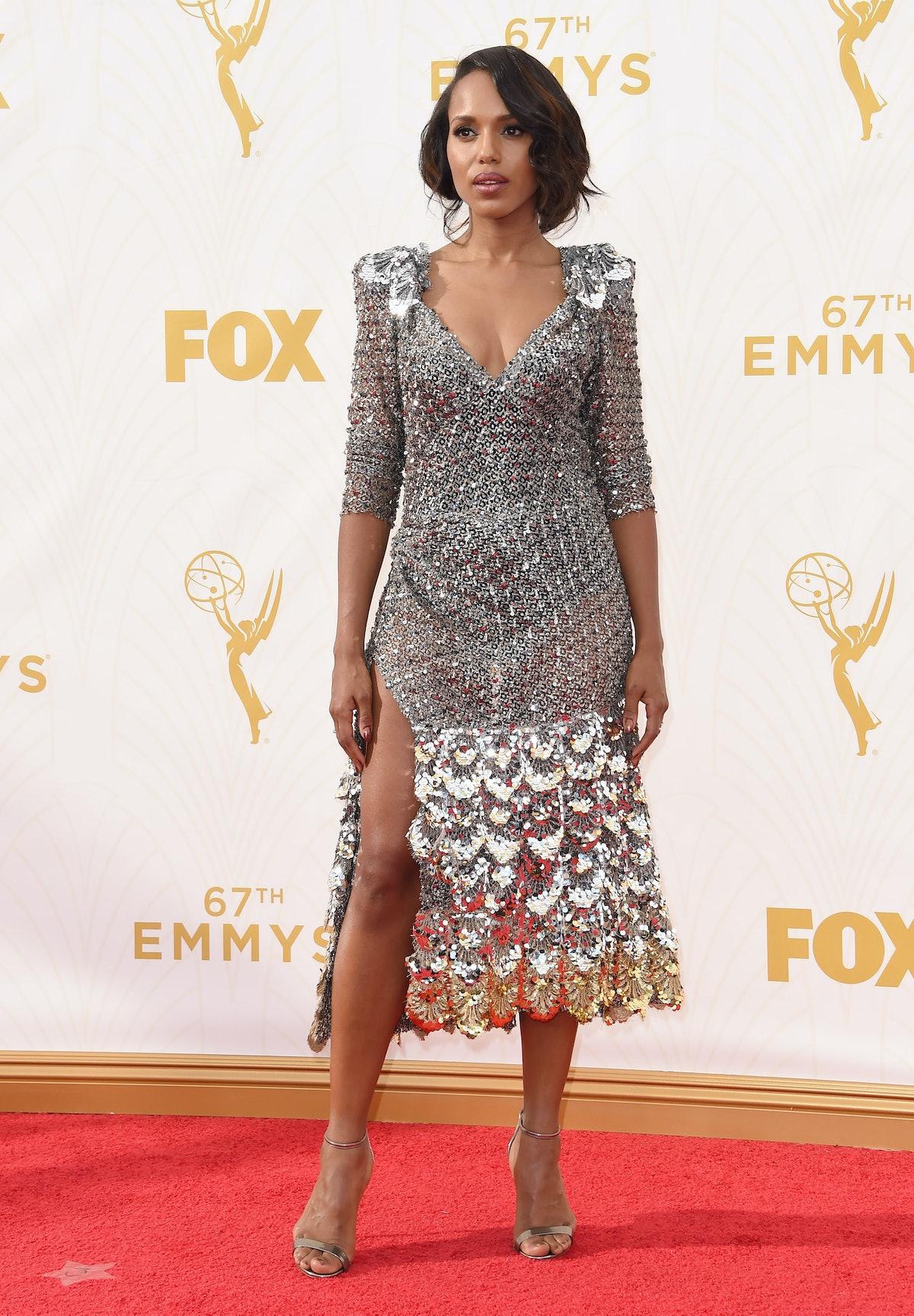 Kerry Washington silver dress Emmys