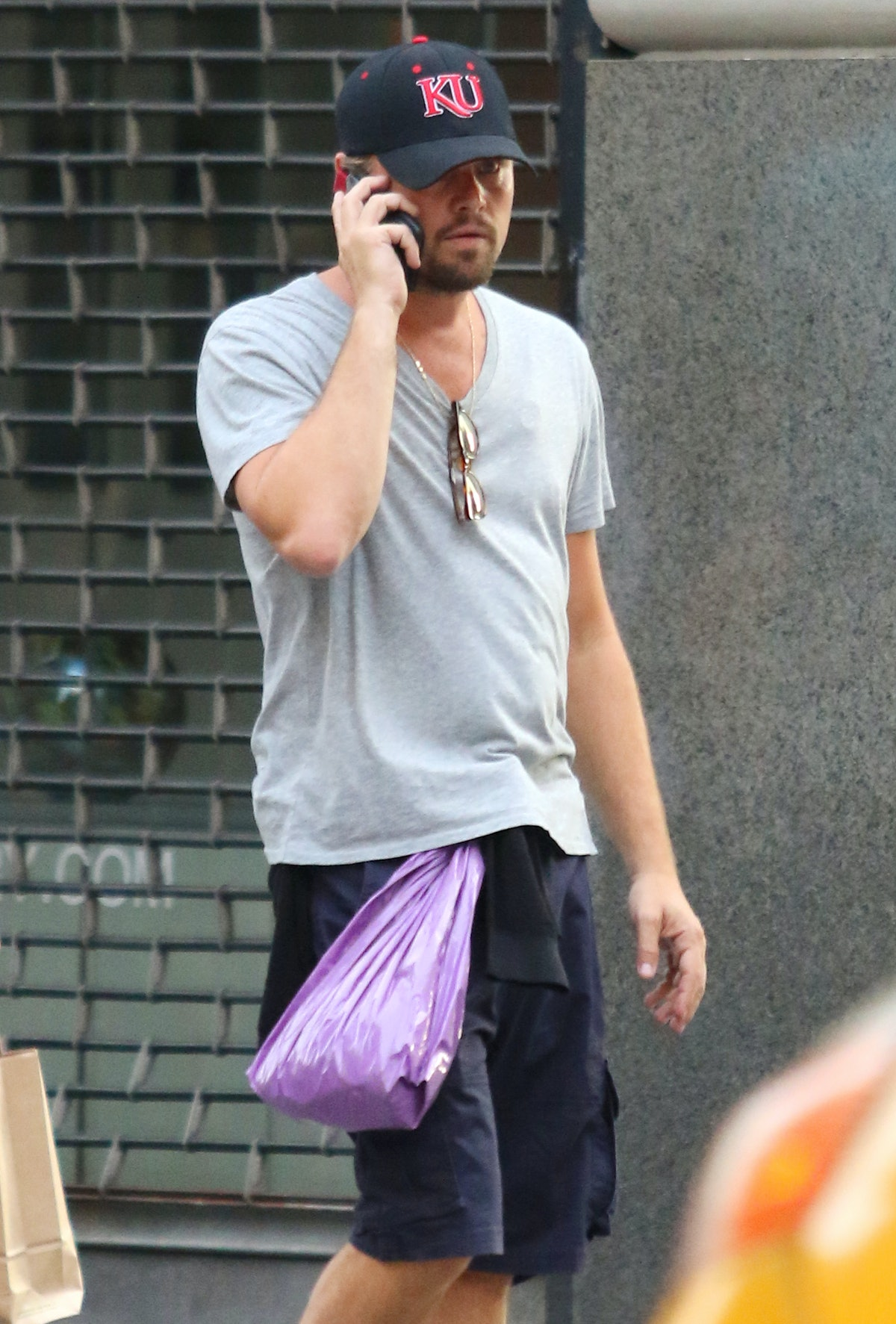 Leonardo DiCaprio wears Zio Patch on left side of chest while on a long walk in NYC