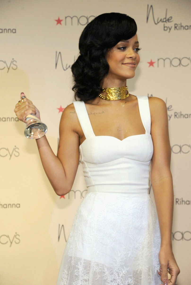 Rihanna Attends The Launch Of Her Third Fragrance, Nude By Rihanna, At Macy's Westfield Century City