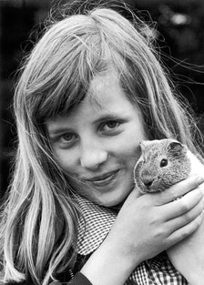 Diana Spencer with pet guinea pig
