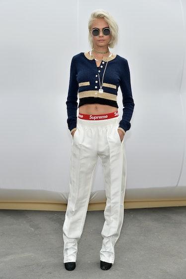 Cara Delevingne at a Chanel show.