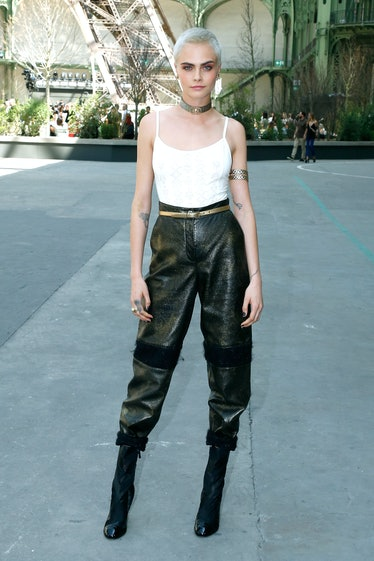 Cara Delevingne outside Chanel show.