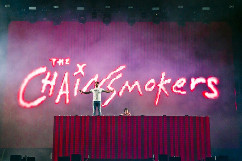 The stage of a Chainsmokers concert