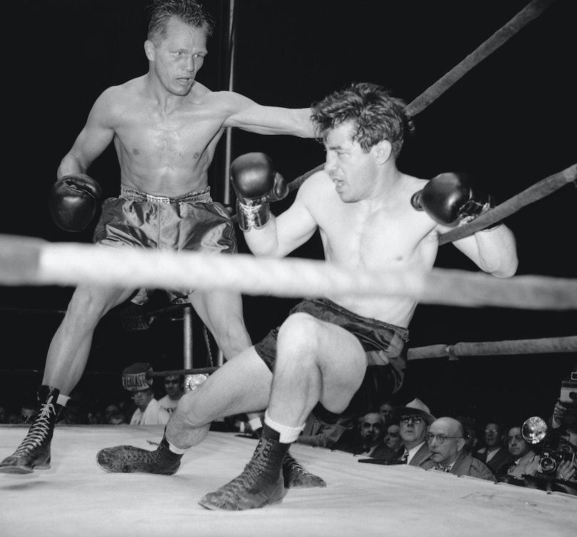 Rocky Graziano Falling to Tony Zale