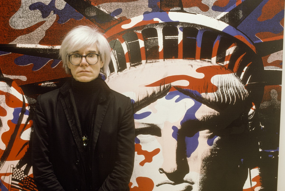 Andy Warhol paints the Statue of Liberty in Paris, France on April 22nd, 1986.