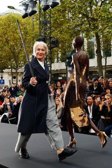 Helen Mirren walks the runway during the Le Defile L'Oreal Paris show