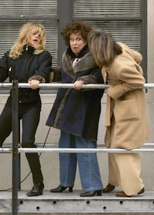 Goldie Hawn, Bette Midler and Diane Keaton (l. to r.) hang o