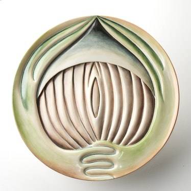 Chicago_Hrosvitha Test Plate, 1979_China paint on porcelain_Diameter 14 inches x Height 2 inches.jpg