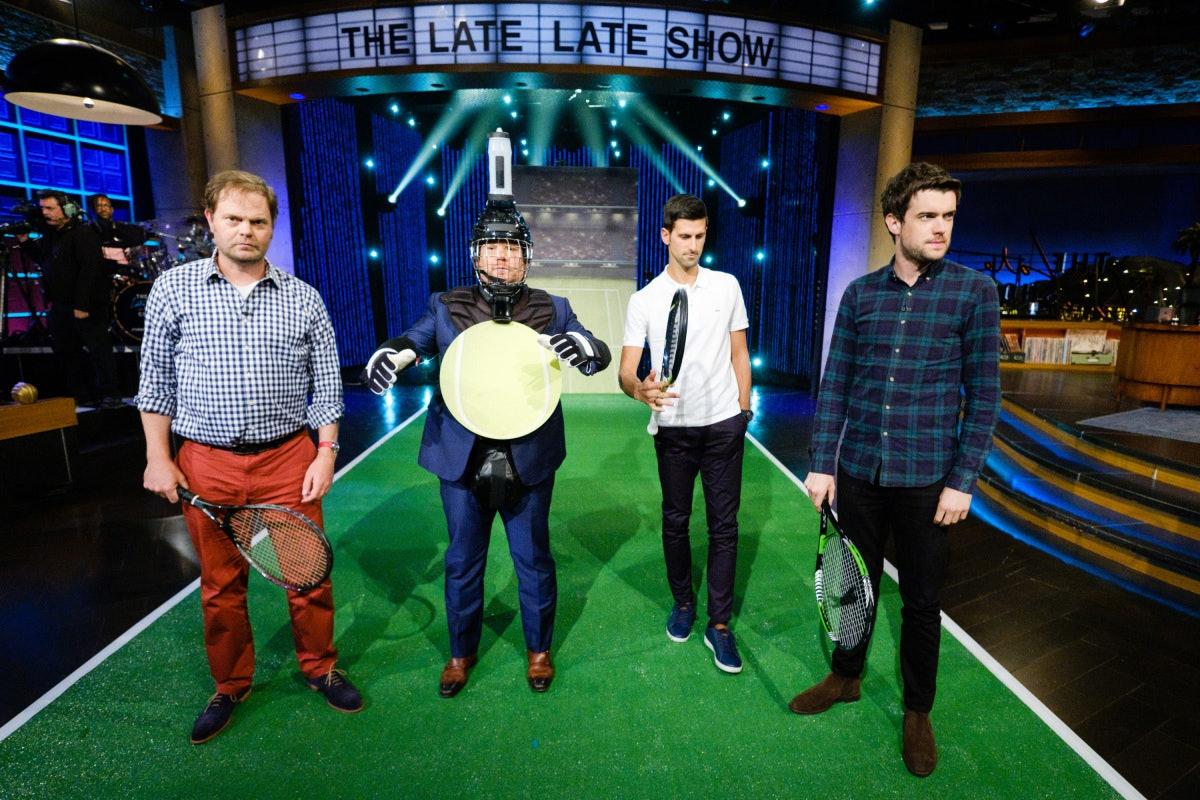 Novak Djokovic and Rainn Wilson Perform in a sketch called Target Practice with James Corden