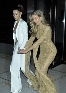 Gigi Hadid Narrowly Misses Taking a Tumble While Walking with Sister Bella