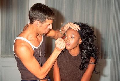 Kevyn Aucoin Applies Makeup to Naomi Campbell