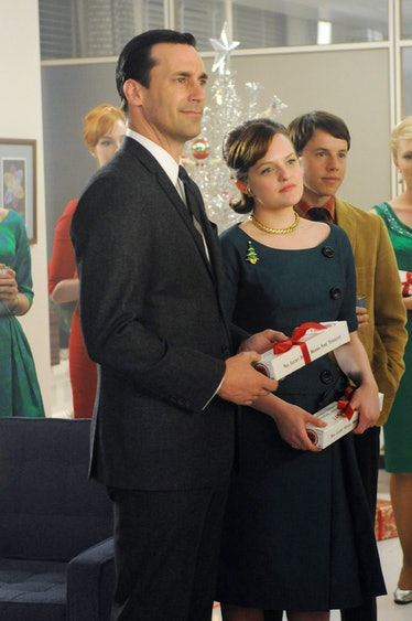 MAD MEN, (from left): Jon Hamm, Elisabeth Moss, Blake Bashoff, 'Christmas Comes But Once A Year', (S