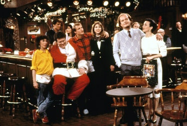 CHEERS, ('Christmas Cheers', Season 6), Rhea Perlman, Ted Danson, George Wendt, Kirstie Alley, Woody