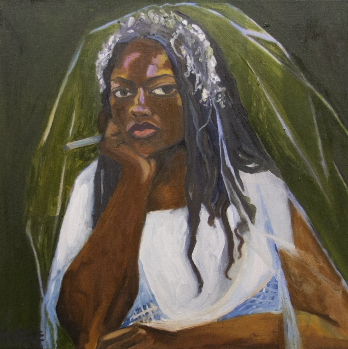 Kirke, Jemima, ShiShi in My Wedding Dress, 2017, Oil on canvas, 21 x 21 inches.jpg