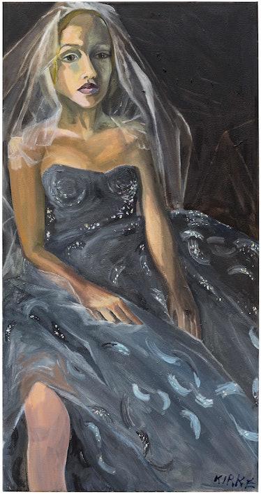 Kirke, Jemima, Zoe in Her Wedding Dress, 2017, Oil on canvas, 42 x 22 inches.jpg
