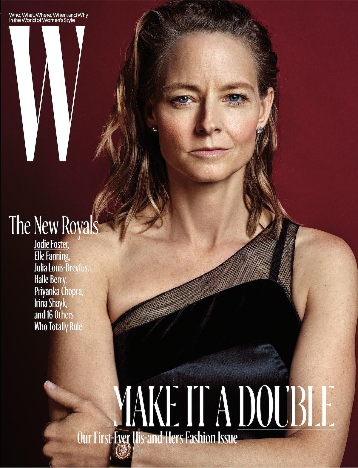 Jodie Foster wears Giorgio Armani dress; Harry Winston earrings; Mish New York cuff. Beauty: Giorgio...