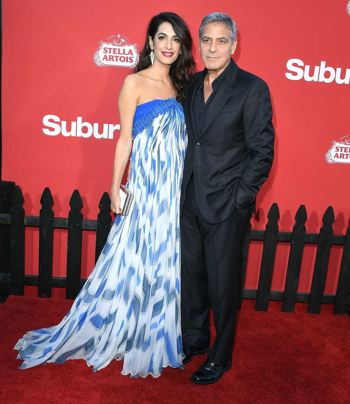 Amal and George on a red carpet