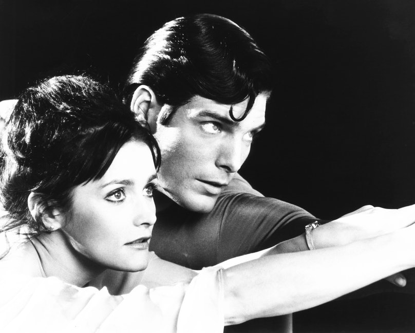 SUPERMAN, from left: Margot Kidder, Christopher Reeve, 1978, © Warner Brothers/courtesy Everett