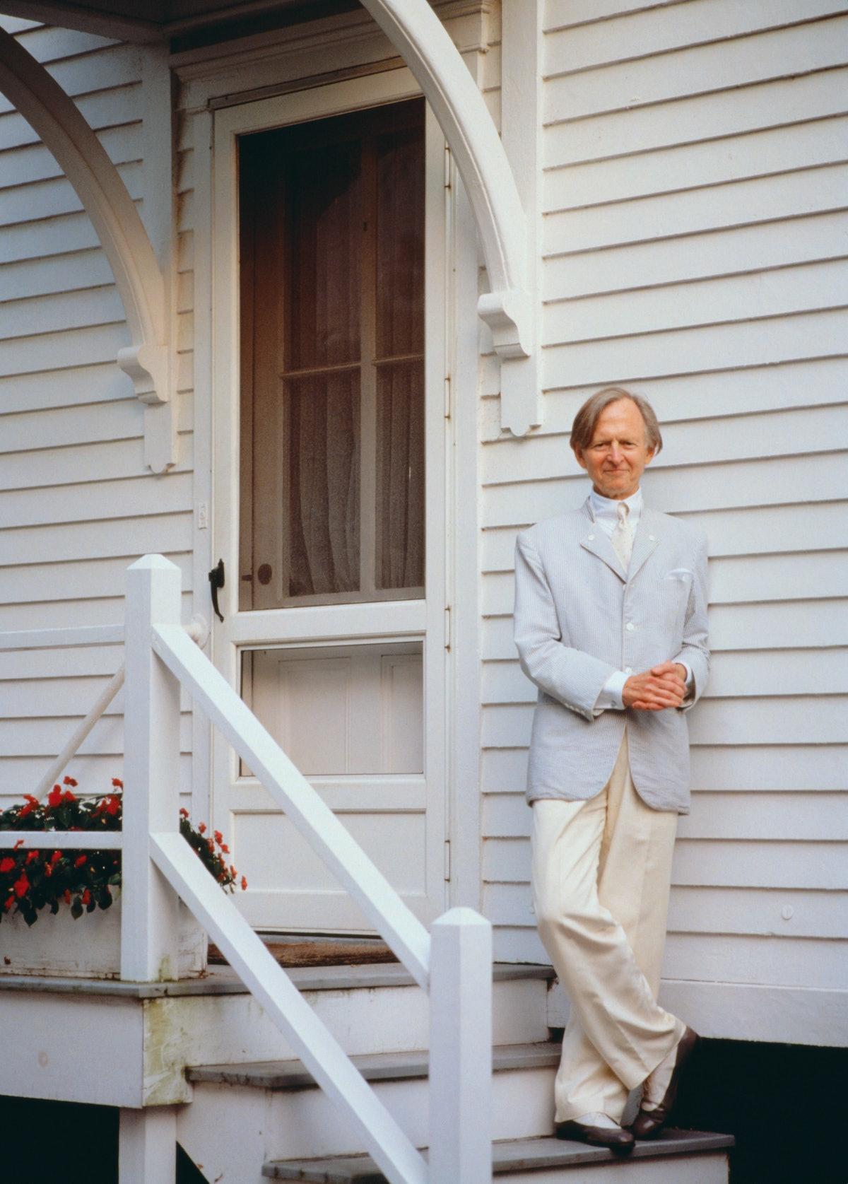 Novelist Tom Wolfe Standing on Steps