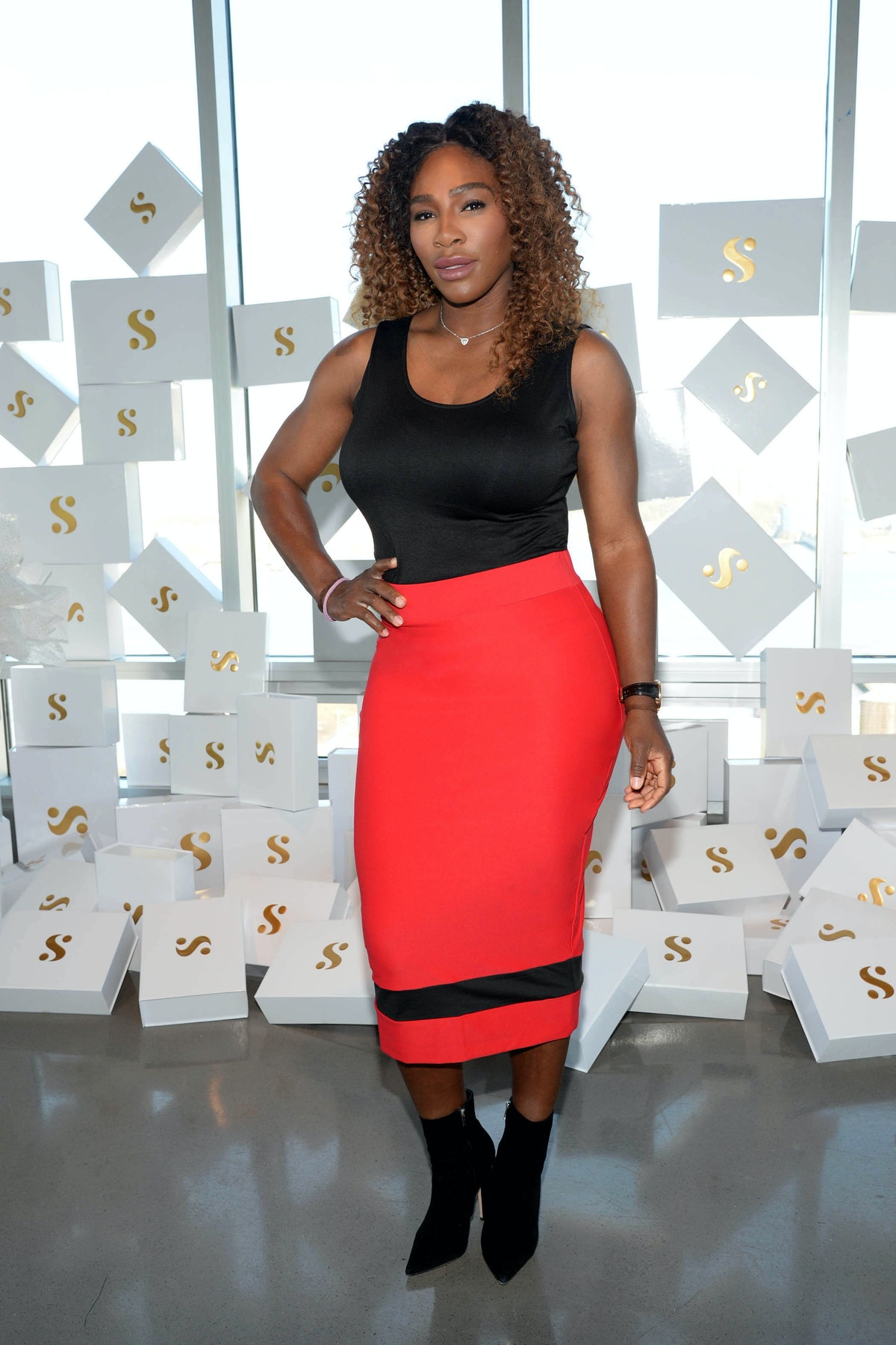 Serena Williams working on her clothing line.