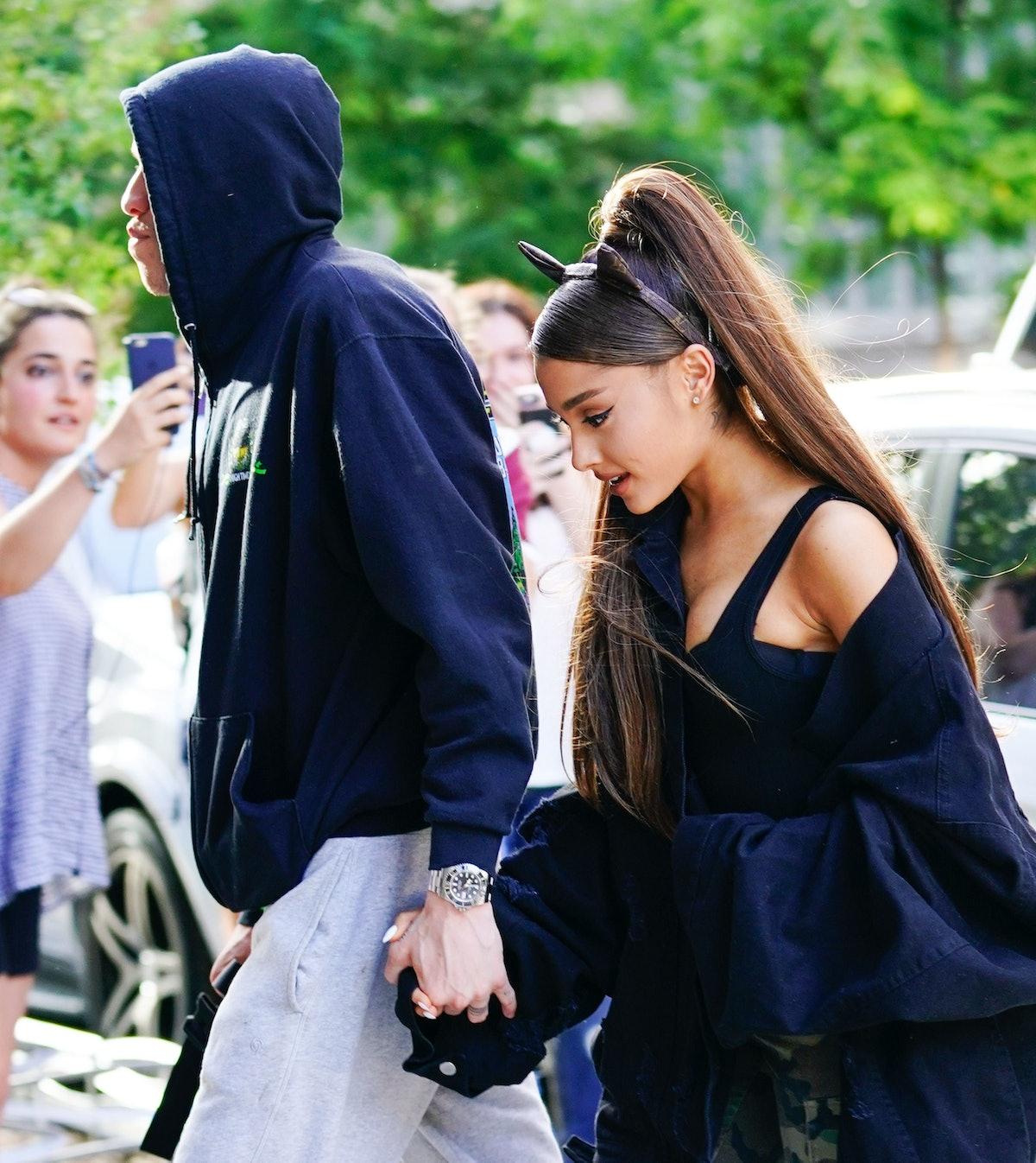 Ariana Grande Wears a Sweatshirt with Pete Davidson's Face on it 1