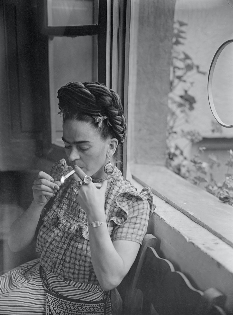 Frida Kahlo Smoking a Cigarette