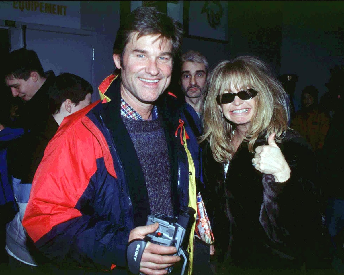 Kurt Russel and Goldie Hawn at Pee Wee hockey tournament to see their son In Quebec, Canada On Febru...