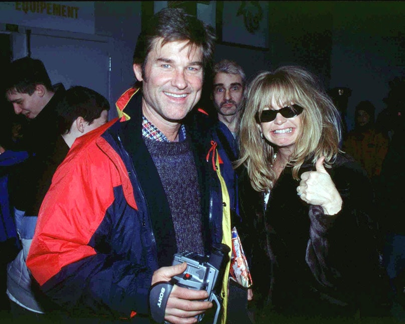 Kurt Russel and Goldie Hawn at Pee Wee hockey tournament to see their son In Quebec, Canada On February 17, 2000-