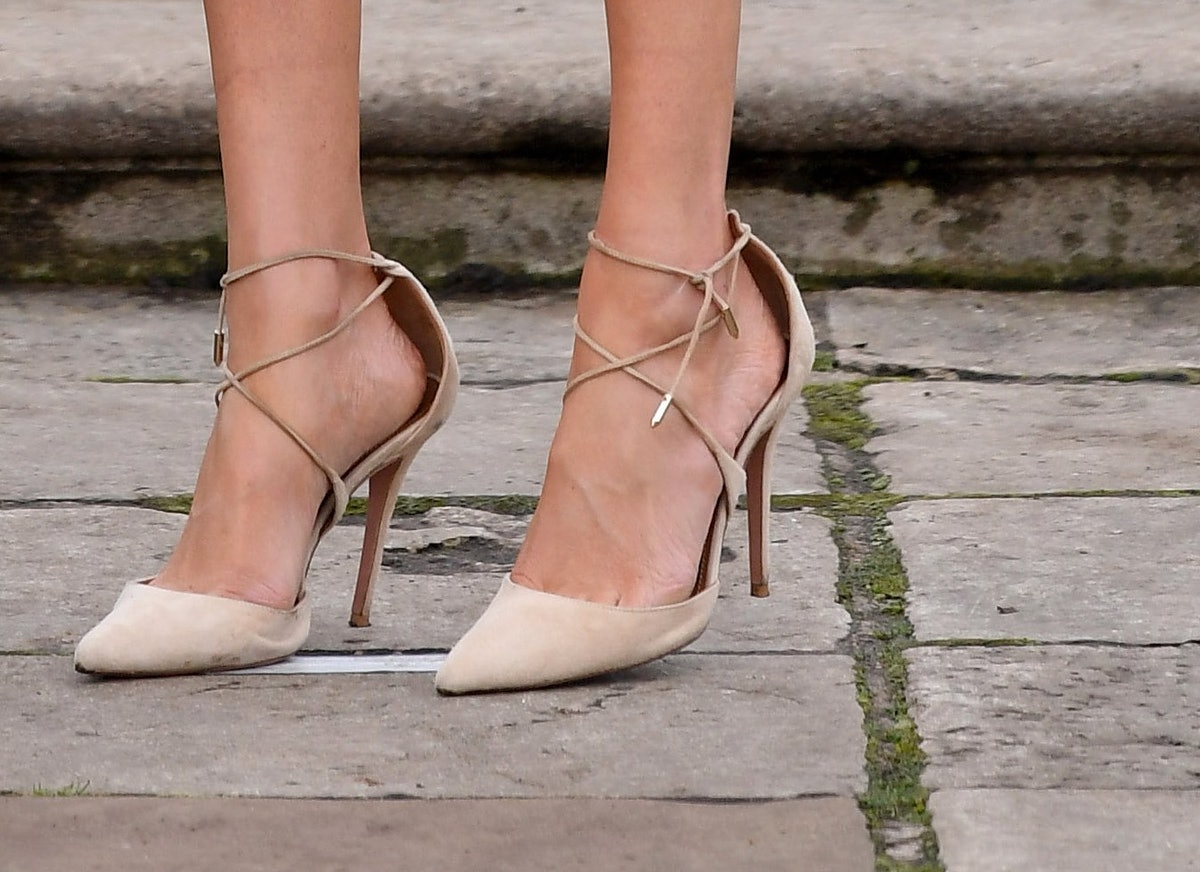 Princess Eugenie's Aquazzura Heels Are the Same Ones Meghan Markle Wore for Her Engagement Announcem...