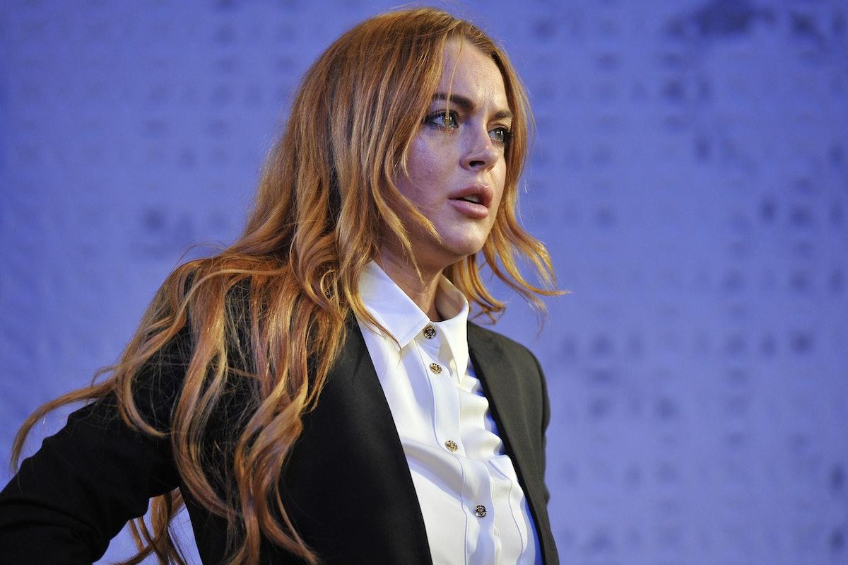 UK- Lindsay Lohan as Karen in David Mamet's Speed-The-Plow directed by Lindsay Posner at the Playhouse Theatre in London