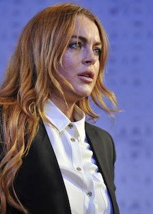 UK- Lindsay Lohan as Karen in David Mamet's Speed-The-Plow directed by Lindsay Posner at the Playhou...