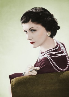 Coco Chanel, French couturier. Paris, 1936. Colour