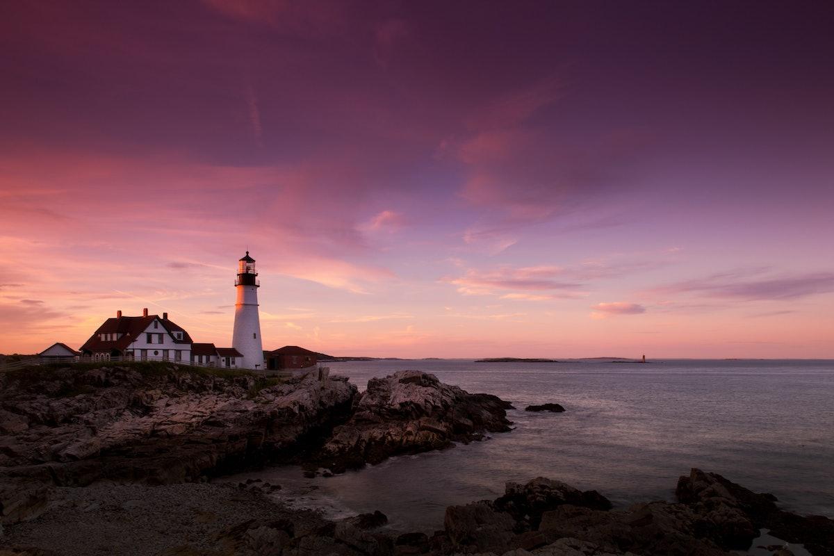 Portland Head Lighthouse at sunset