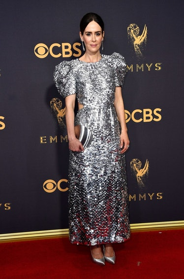 Sarah Paulson silver dress Emmys