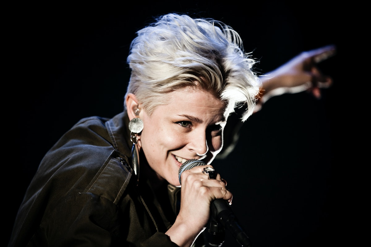 The Swedish singer Robyn (Miriam Carlsson) performs live concert at Roskilde Festival 2010 and is here pictured live on stage during her show