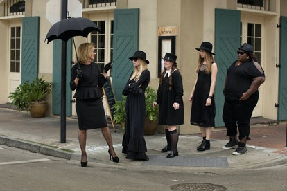AMERICAN HORROR STORY: COVEN, l-r: Jessica Lange, Emma Roberts, Jamie Brewer, Taissa Farmiga, Gabour