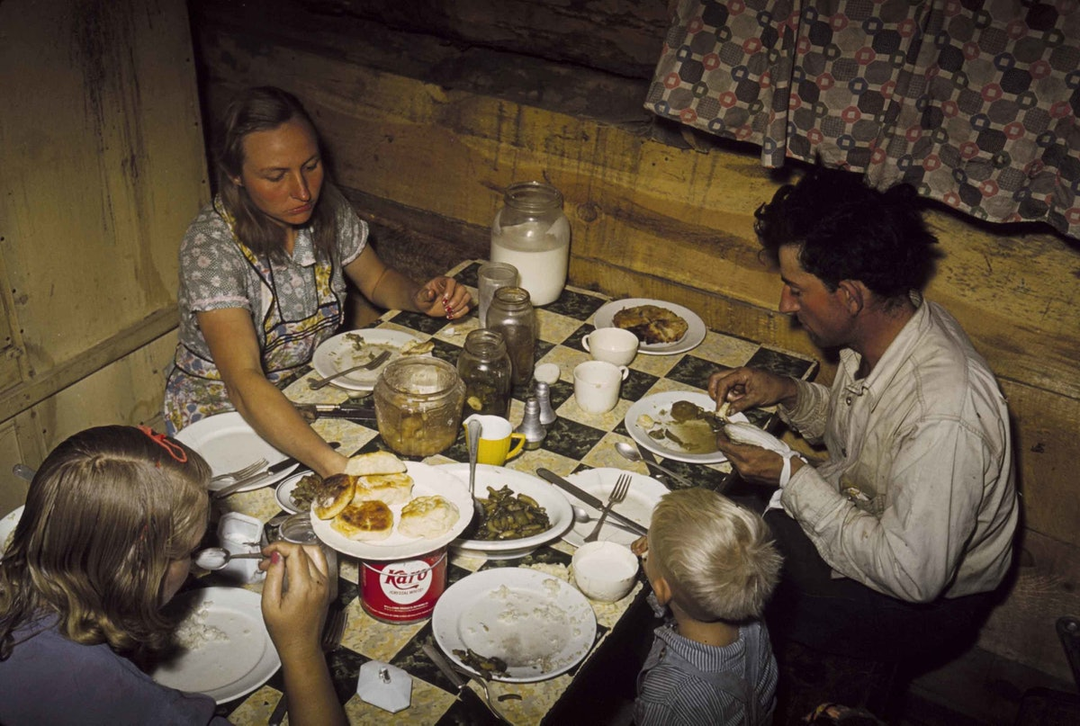 The Faro Caudill Family Eating Dinner in Their Dugout Pie Town New Mexico 1940 C Russell Lee.jpg
