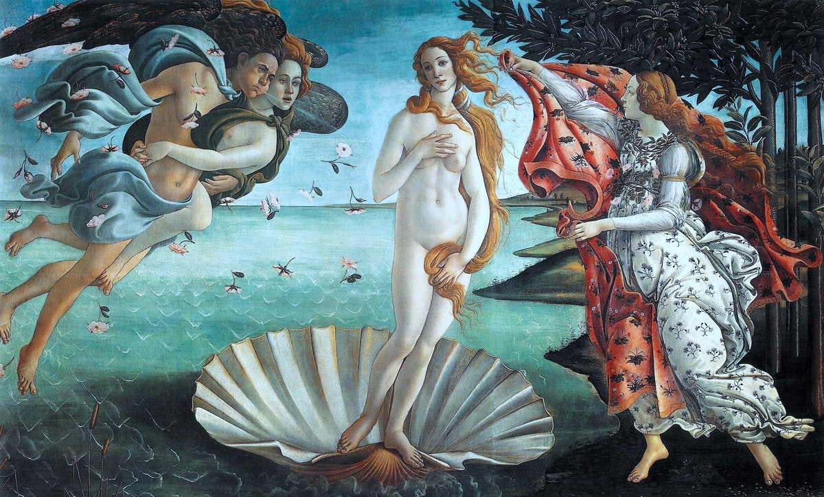 The Birth of Venus' 1486: painting by the Italian Renaissance painter Sandro Botticelli c. 1445 - 1510. It depicts the goddess Venus, having emerged from the sea as a full grown woman, arriving at the sea-shore.