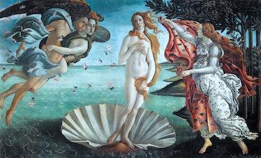 The Birth of Venus' 1486: painting by the Italian Renaissance painter Sandro Botticelli c. 1445 - 15...
