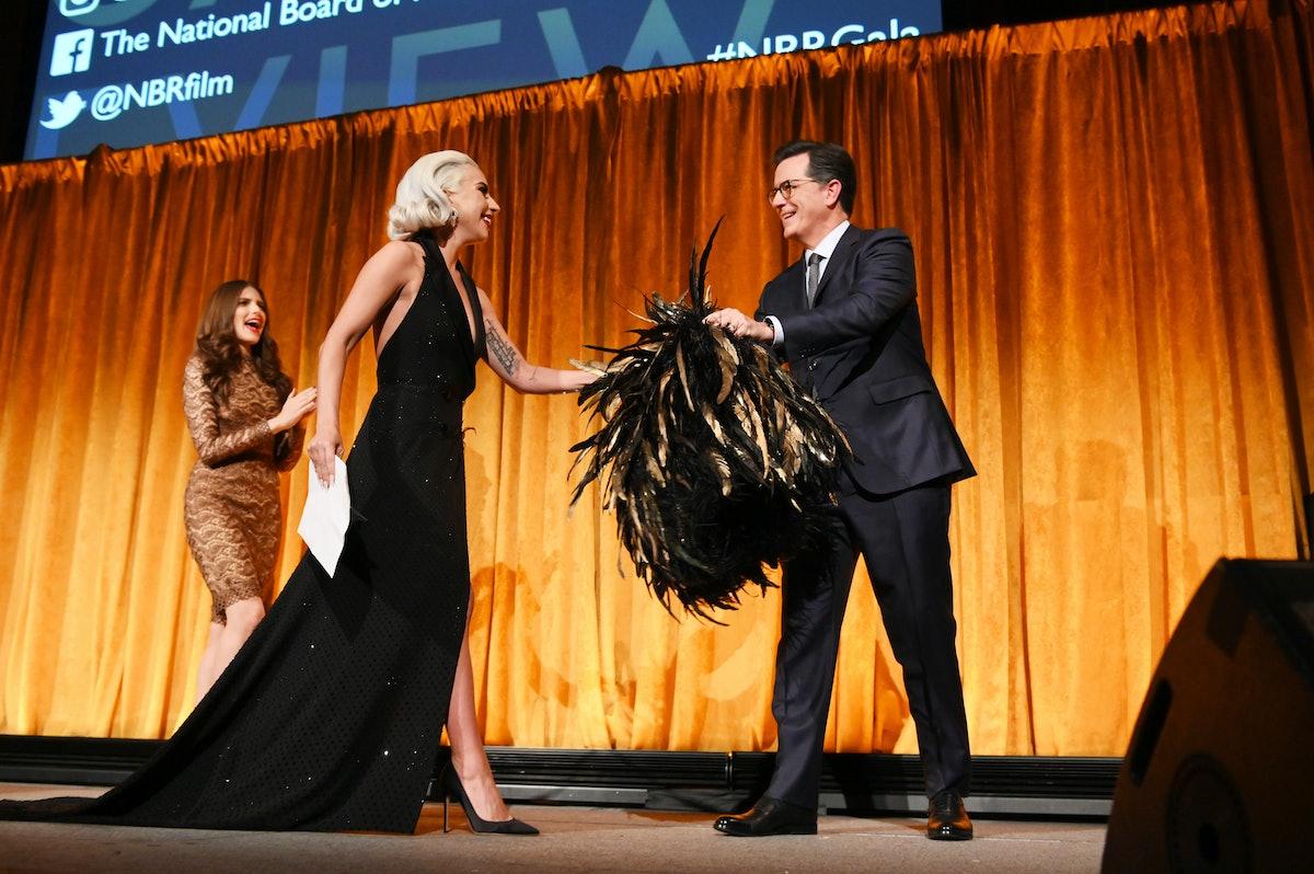 Lady Gaga and Stephen Colbert