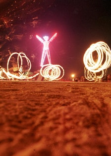 """Dancers at the """"Burning Man"""" festival create patte"""